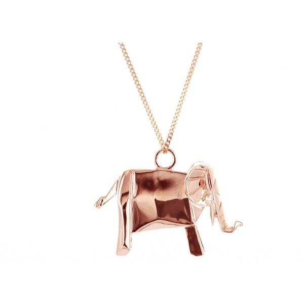 Origami Jewellery Sterling Silver Pink Gold Plated Elephant Necklace A8sbiK5