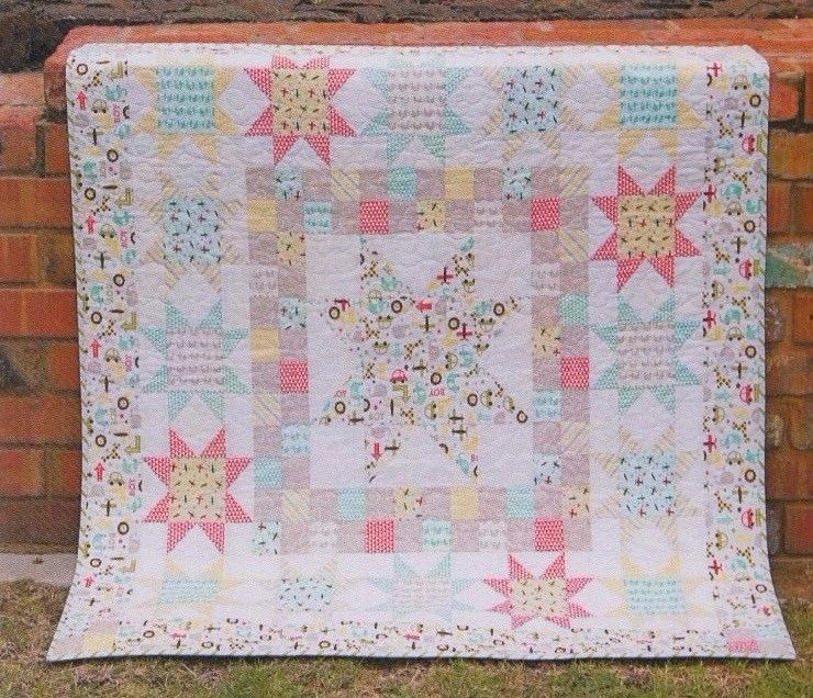 "Starstruck - this is another fun pieced quilt PATTERN from Tied with a Ribbon. "". Starstruck is a quilt to show off and feature those wonderful patterned and feature fabrics you have been eying off or dying to use. 