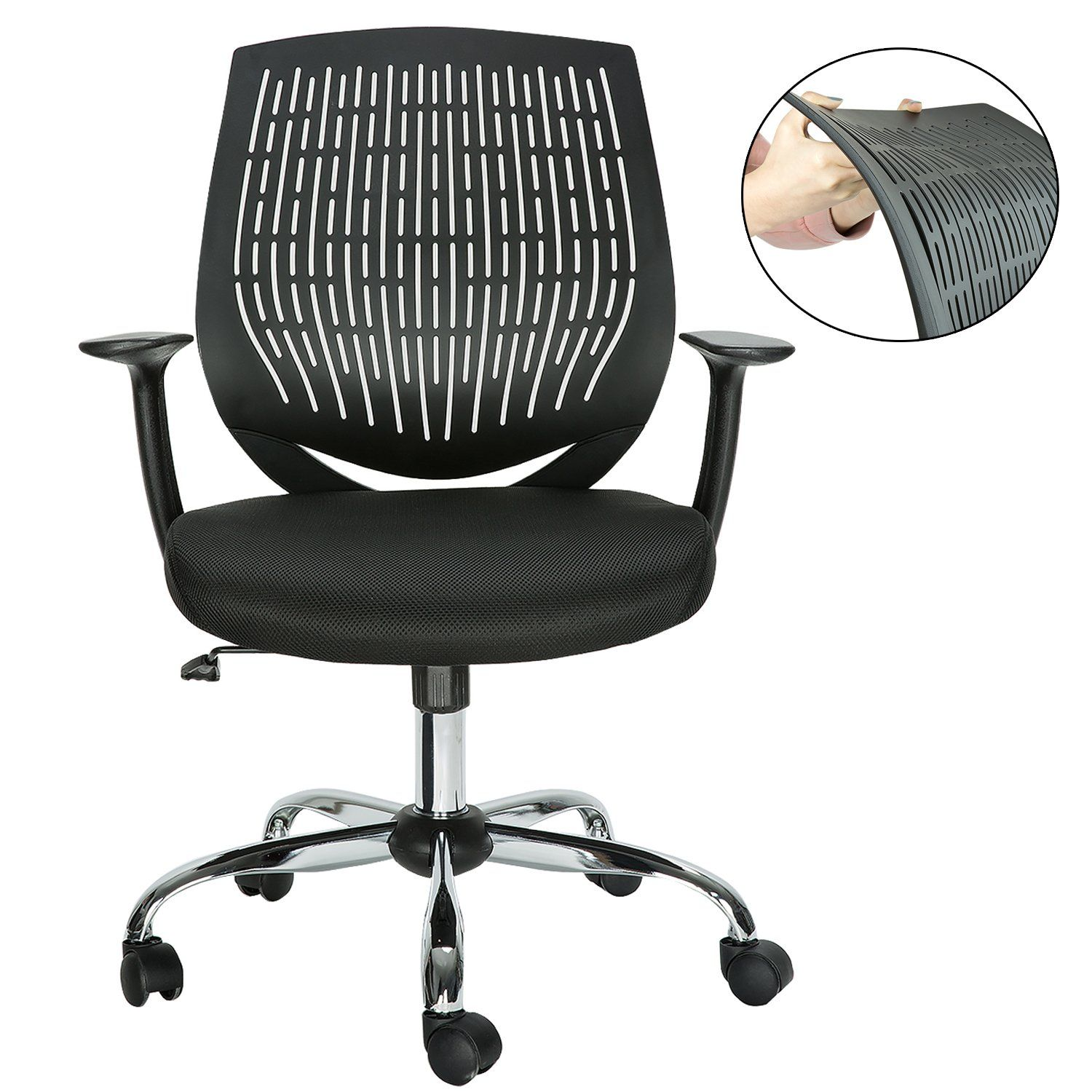 hollyhome modern mid back mesh office desk chair with soft back