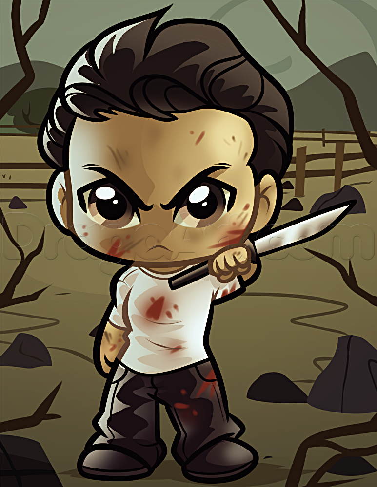 How To Draw Chibi Glenn From The Walking Dead Walking Dead Art Chibi Drawings Chibi