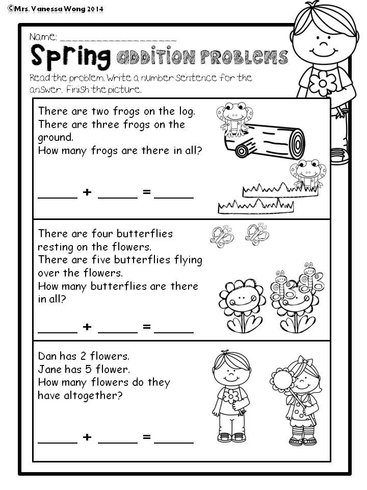 spring math and literacy no prep printables kindergarten kindergarten math kindergarten math. Black Bedroom Furniture Sets. Home Design Ideas