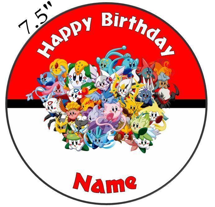 Pokemon Edible Icing Cake Topper 7 5in Precut Round