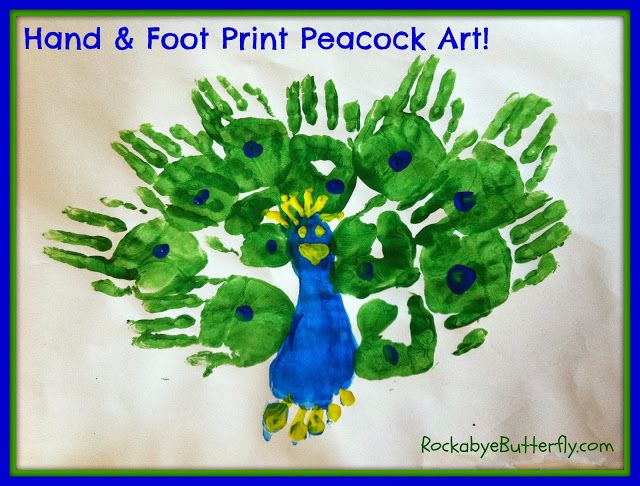 Hand foot print peacock art rockabye butterfly arts for Hand and foot crafts