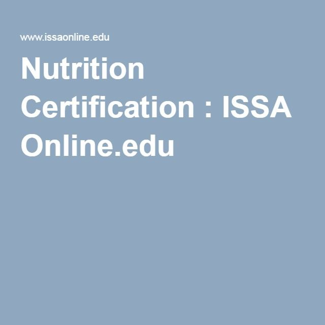 Nutrition Certification Issa Online Creative Action