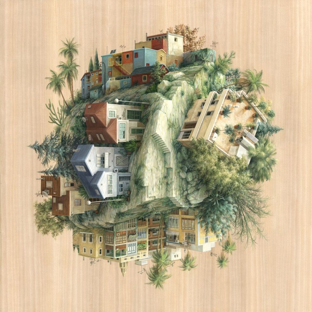 Beau Gravity Defying Architecture On Wood Panels Explore Co Existence