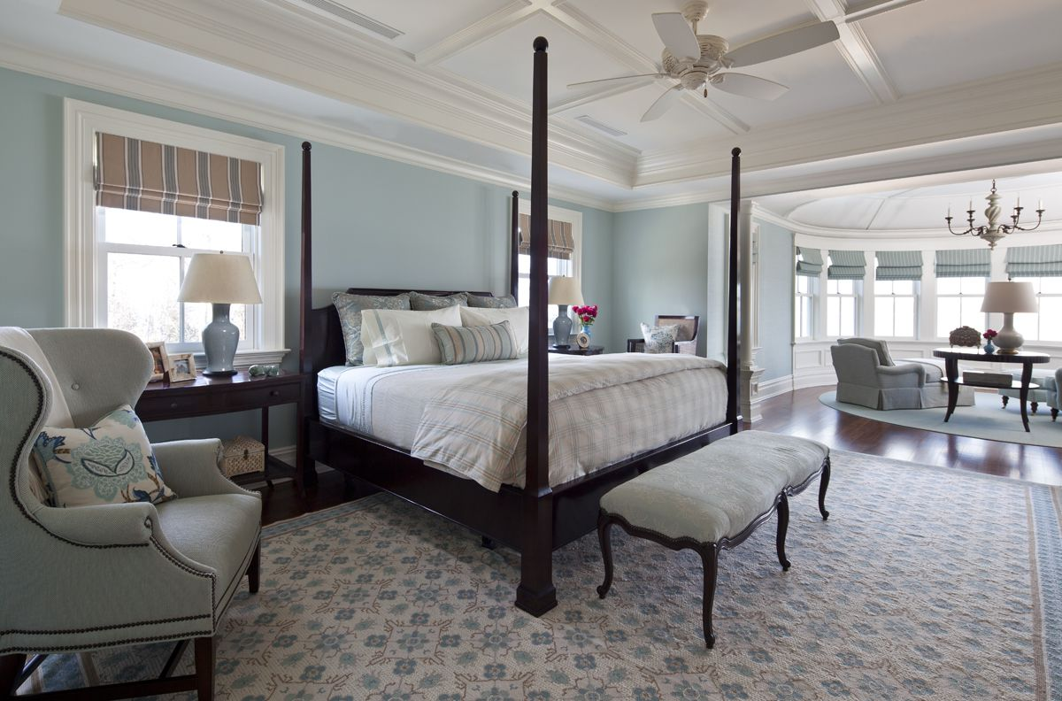 traditional bedroom with light blues dark stained wood on discover ideas about master dream bedroom id=47830