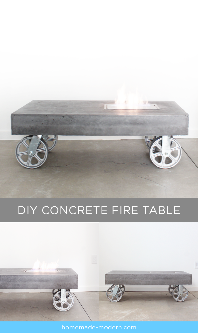this modern concrete fireplace doubles as a coffee table on wheels