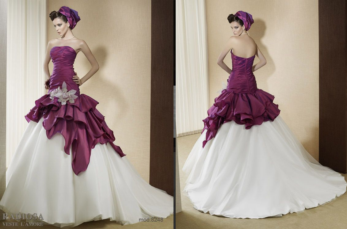 Wedding dresses with purple accents  Pin by Georgina on Romantic Wedding Dress  Color  Pinterest
