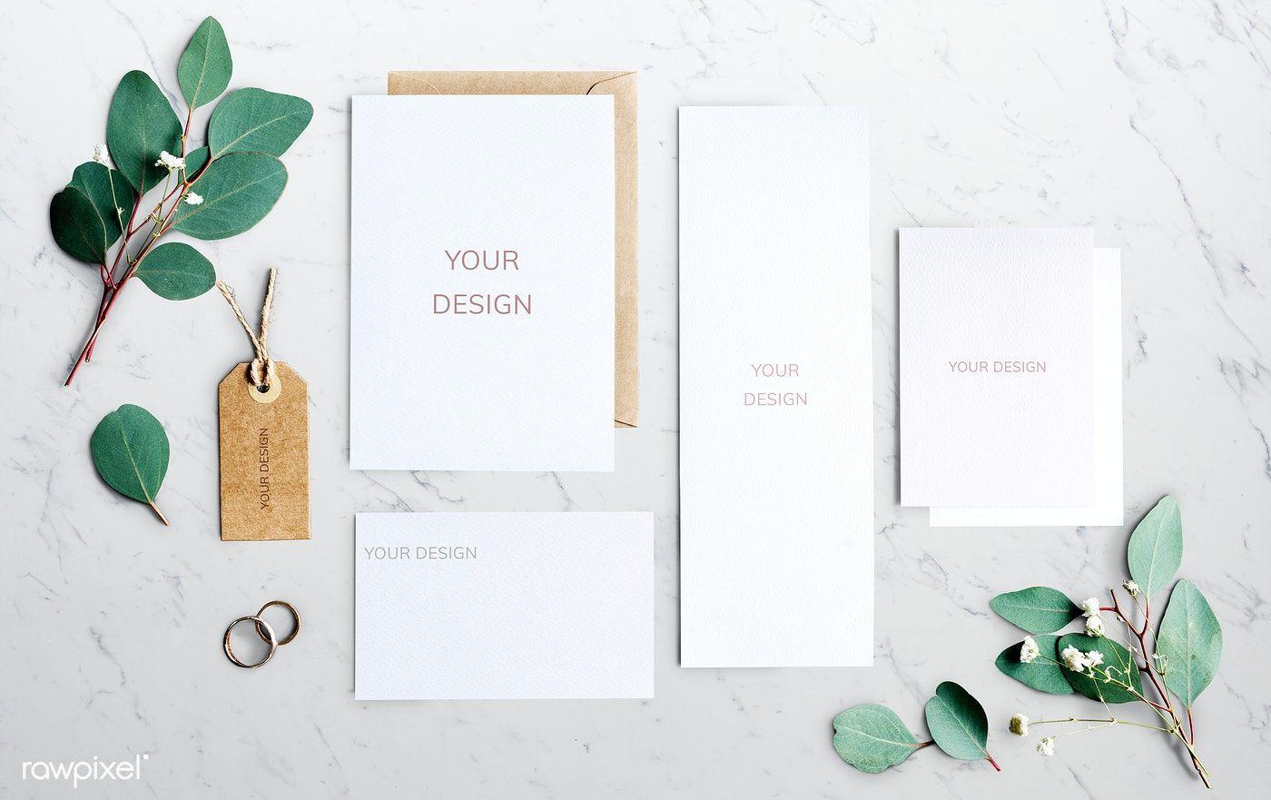 Download Premium Psd Of Flatlay Of An Empty Wedding Invitation