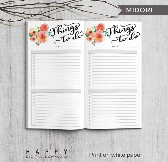 Printable To Do List Bullet Journal, Midori To Do List, Printable