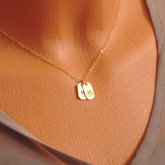 Mini Dog Tags Necklace Lovers Dog Tags 14kt Gold Filled