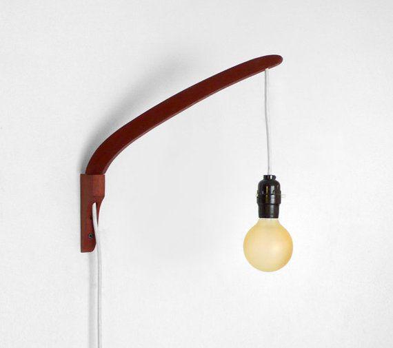 Vintage Teak Swivel Wall Sconce Mid Century Lamp Wood By Hindsvik