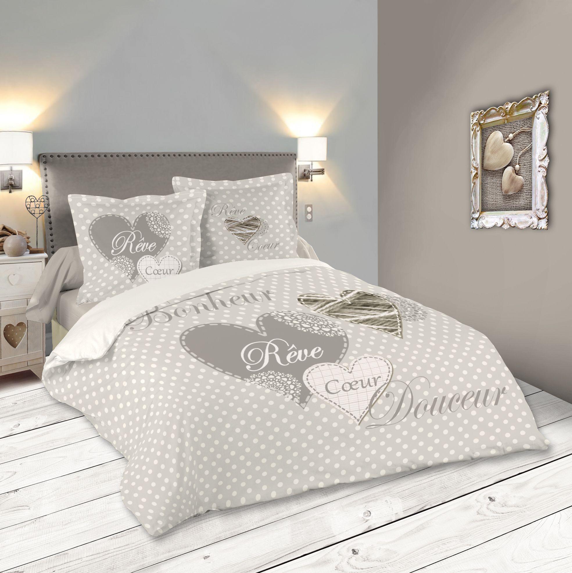 Parure De Lit Romantique Motif Coeur 260x240cm Housse De Couette 2 Taies 63x63cm Lyna Parure De Lit Lit Romantique Housse De Couette