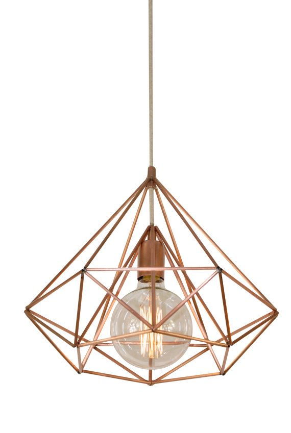 Himmeli Light Diamond Cage Pendant Geometric Copper Matte Chandelier Pink Gold Original Art Panselinos