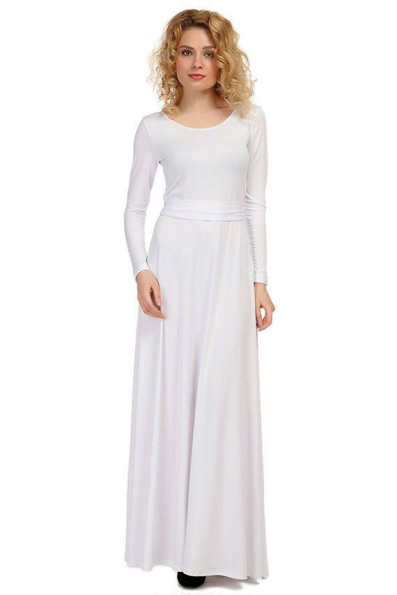 White Maxi Dress Long Sleeve Floor Length Dress Bridesmaid Many Colors Long Sleeve White Maxi Dress White Maxi Dresses Dresses