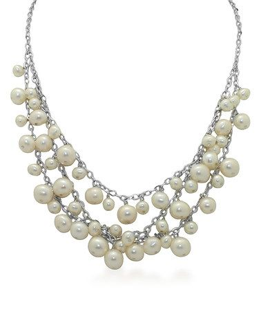 $69.99 Look at this #zulilyfind! Pearl & Sterling Silver Dangling Bib Necklace #zulilyfinds