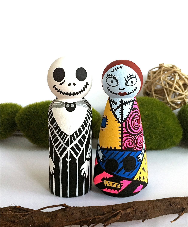 Jack Amp Sally Handpainted Wooden Peg Dolls The Nightmare Before Christmas Wood Peg