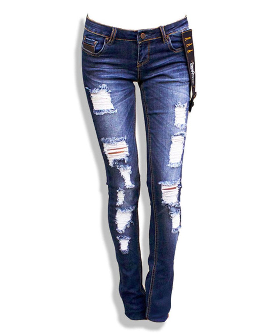 SKYLTON Blue Dark Wash Destroyed Celine Slim Jeans by SKYLTON  zulilyfinds 427b24dbcf3b0