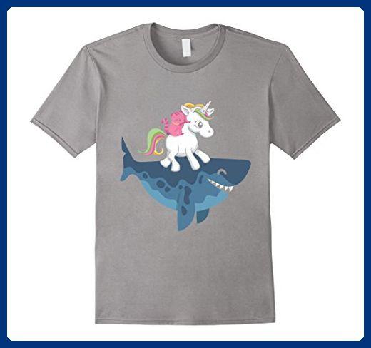 55869800 Mens Cat Riding Unicorn Riding Shark Funny Novelty Animal T-shirt 2XL Slate  - Fantasy sci fi shirts (*Amazon Partner-Link)