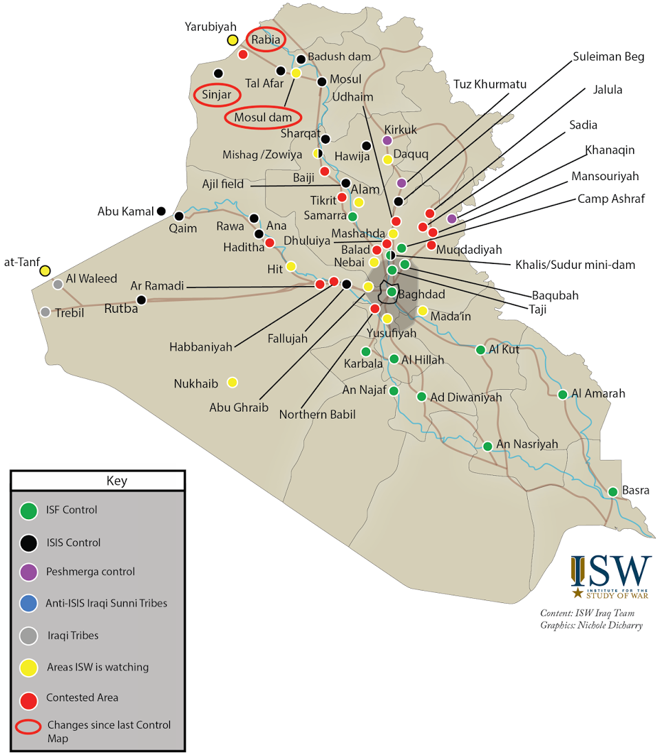 Map of Iraq and who controls what as of August 2014 See source