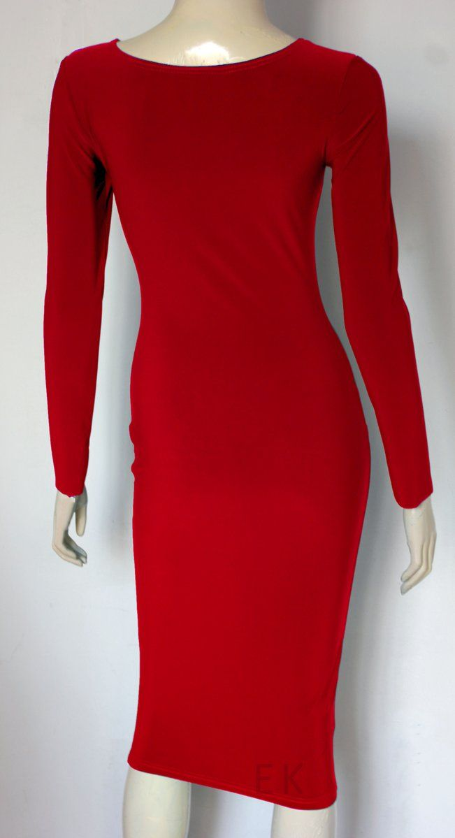 a2d5286f98 Below the knee jersey dress. Red long sleeve bodycon. Fitted tube dress for  cocktail