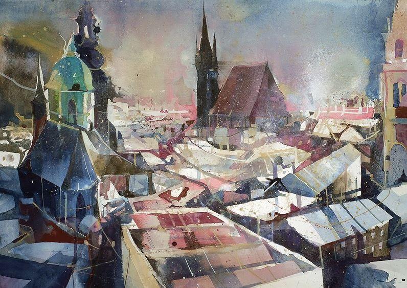 Bernhard Vogel Gorodskoj Pejzazh Akvarel Salzburg Von Den