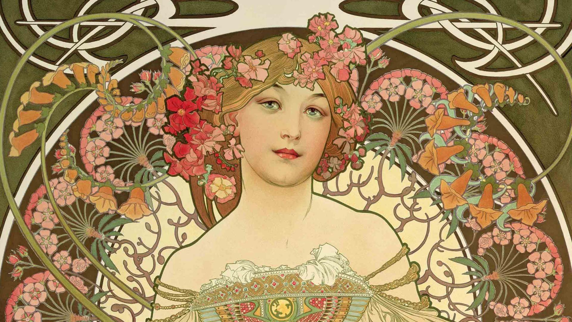 Alphonse Mucha Wallpaper Full Hd | женский образ | Pinterest ...