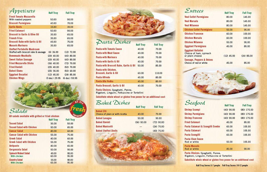 Catering Menu Joespizzany Com Catering Menu Catering Food