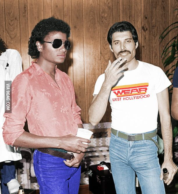 A colorized B&W photo of Michael Jackson and Freddie Mercury.