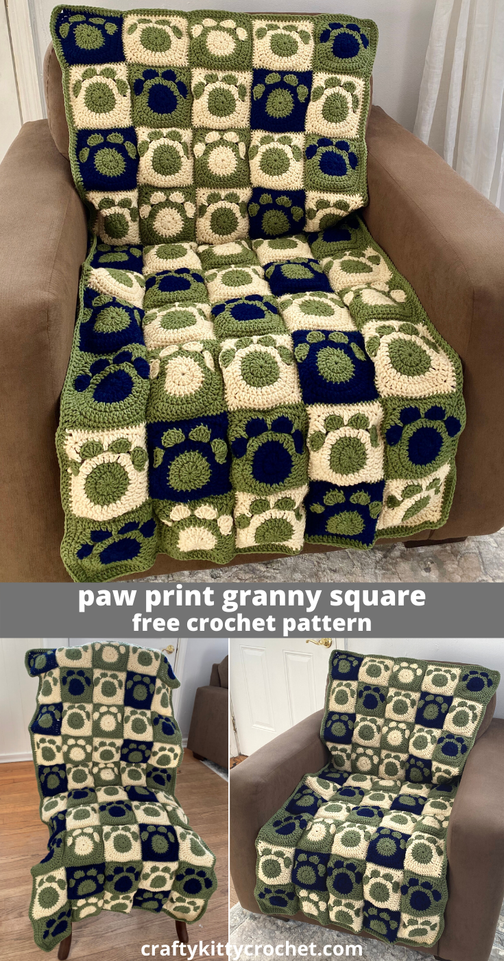 Photo of How to Crochet a Paw Print Granny Square for Blankets, Scarves, Totes, and More – FREE Pattern!
