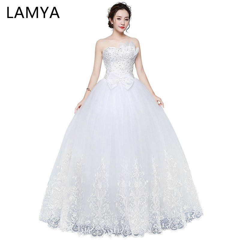 LAMYA Beautiful Lace With Pearl Wedding Dresses Off White Large Bow ...