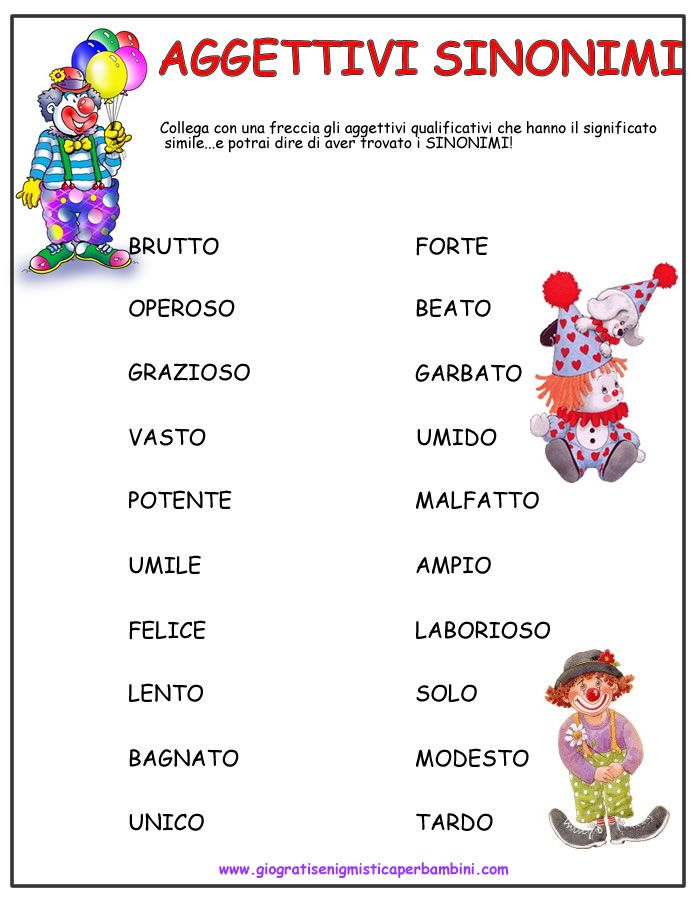 aggettivi sinonimi6 schede didattiche seconda italiano