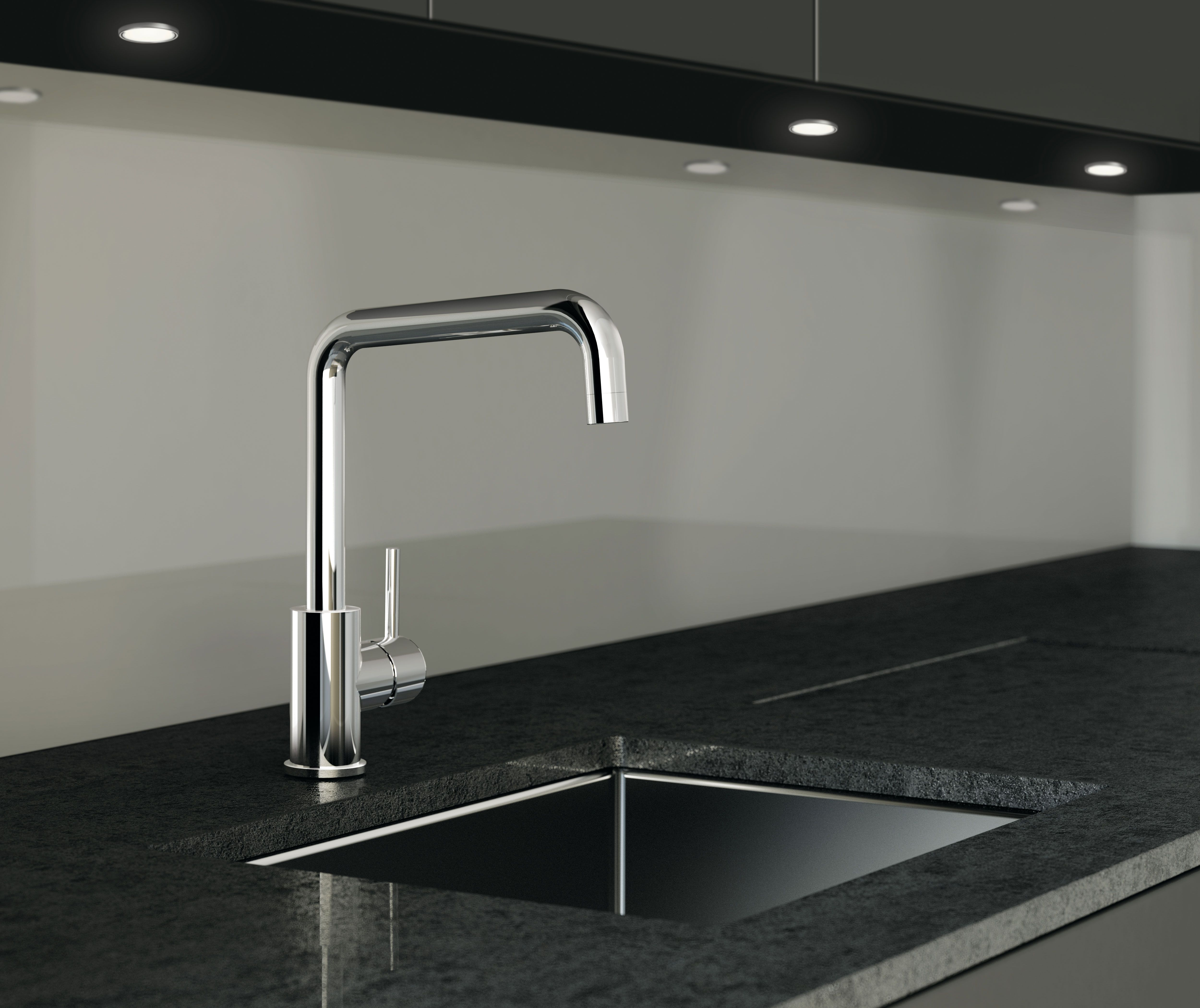 Deck-mounted sink mixer, Chrome finishing