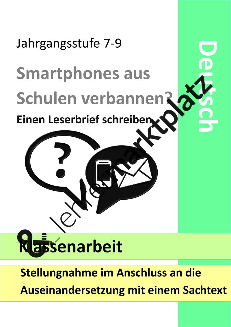 Klassenarbeit Leserbrief Handyverbot Erorterung Argumentation Unterrichtsmaterial Im Fach Deutsch Klassenarbeiten Erste Klasse Erorterung