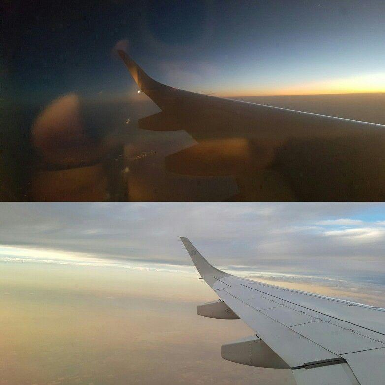 Las dos caras del cielo. #cielo #avion #nubes #atardecer #noche