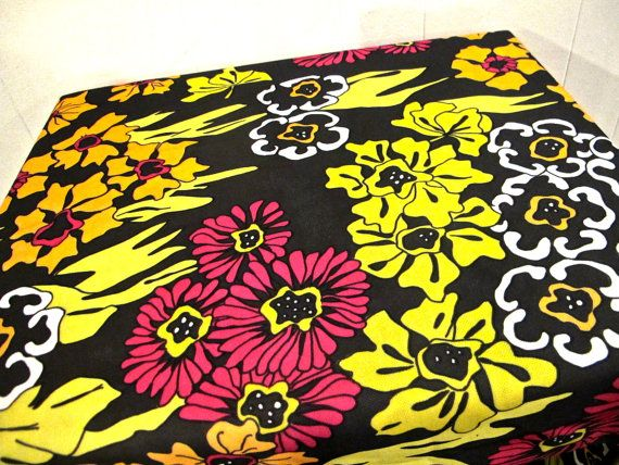 vintage bright day-glo floral mod upholstery fabric by mkmack