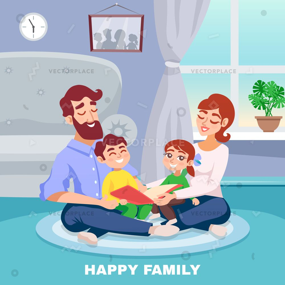 Happy Family In Home Interior Cartoon Poster With Mother Father Son And Daughter Reading Book Together Flat Vector Family Cartoon Cartoon Posters Happy Family