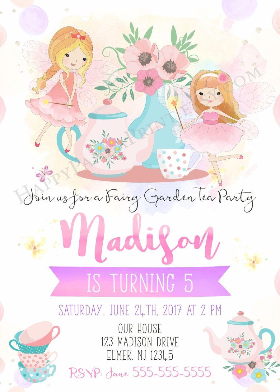 Fairy Tea Party Invitation Fairy Birthday Invitation Birthday Tea ...