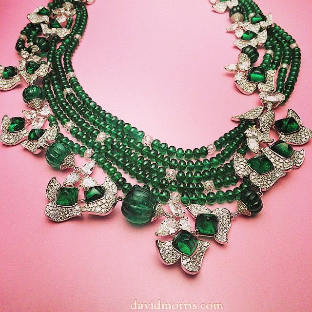 Colombian #emerald cabochon and fluted bead necklace with white #diamond pear shapes #davidmorisjeweller