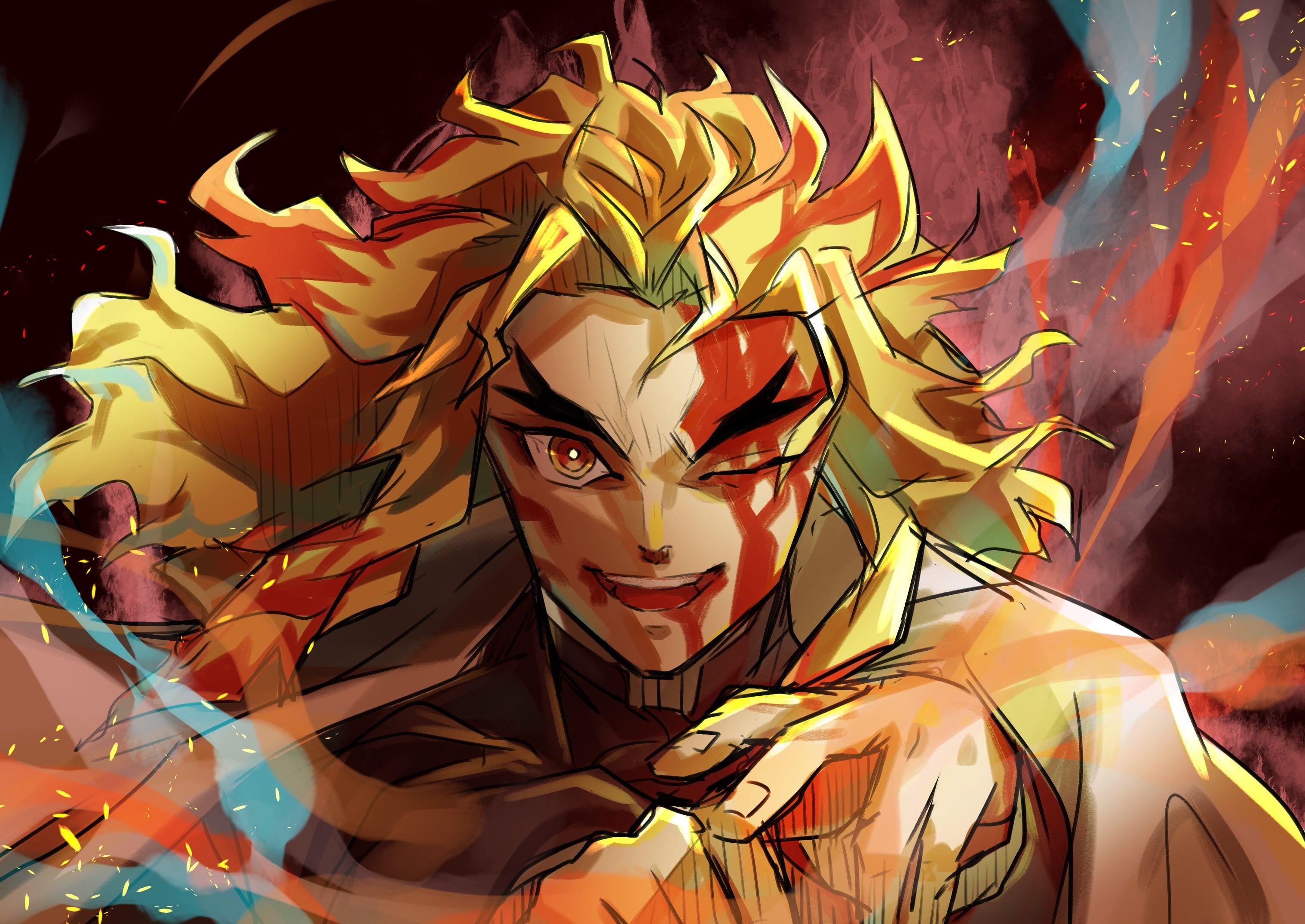 Anime Demon Slayer Kimetsu no Yaiba Kyojuro Rengoku 2K