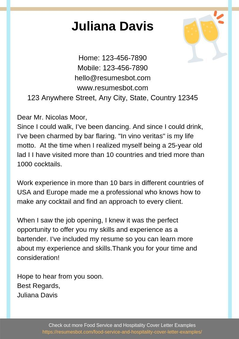 Bartender Cover Letter Samples & Templates [PDF+Word] 2019 - Cover letter example, Lettering, Cover letter sample, Cover letter, Cover, Bartender - Want to create or improve your Bartender Cover Letter Example  ⚡ ATSfriendly Bot helps You ⏩ Use free Bartender Cover Letter Examples ✅ PDF ✅ MS Word ✅ Text Format