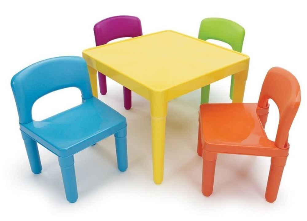 Childs Plastic Table 4 Chairs Toddlers Kids Playset Crafts