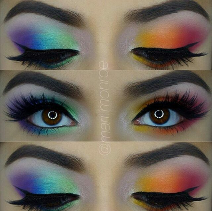 Funky Rainbow Eye Look I Will Either Use Bfte Pigments Or My Urban