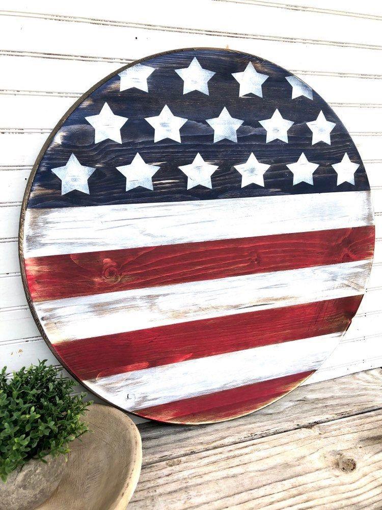 Photo of American Flag Wood Sign | American Flag Round Wood Sign | American Flag Door Hanger