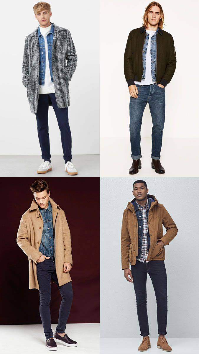 0d670211bcc Men s Denim Jackets Layered Underneath Coats and Jackets - Cold-Weather  Outfit Combinations Lookbook