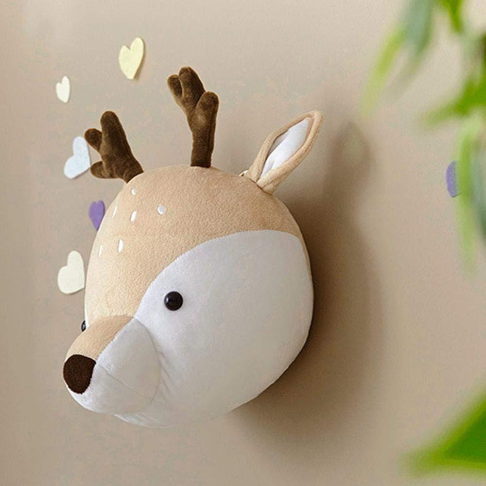 Deer Stuffed Animal Wall Mount Plush Animal Head Wall Decor