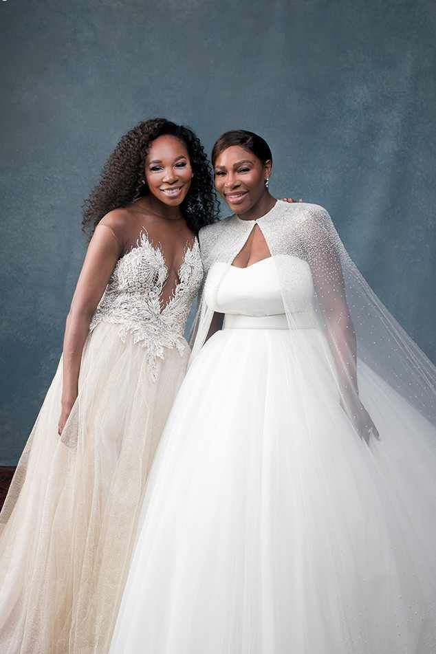 Sister Love from Serena Williams and Alexis Ohanian's Wedding Album  Serena, wearing anAlexander McQueen princess gown, poses with sisterVenus Williams, who wore a custom Galia Lahavbridesmaid'sdress.