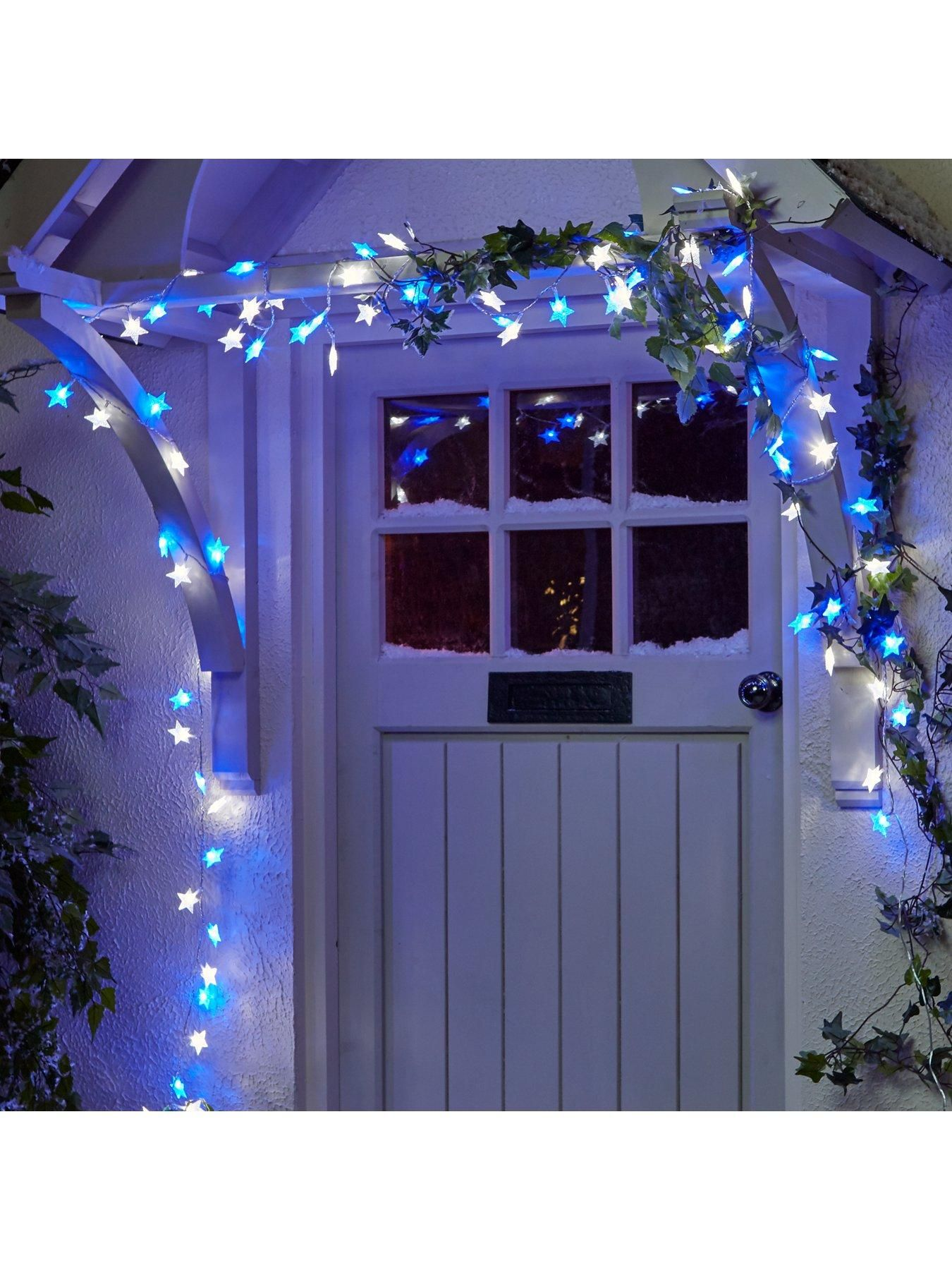 100 Blue And White Led Indoor Outdoor Christmas Star Lights In One Colour Christmas Lights Outdoor Christmas Blue Christmas Lights