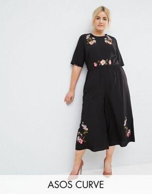 2d96e7834e8d7 ASOS Curve | ASOS CURVE Tea Jumpsuit with Embroidery | Wear | Plus ...