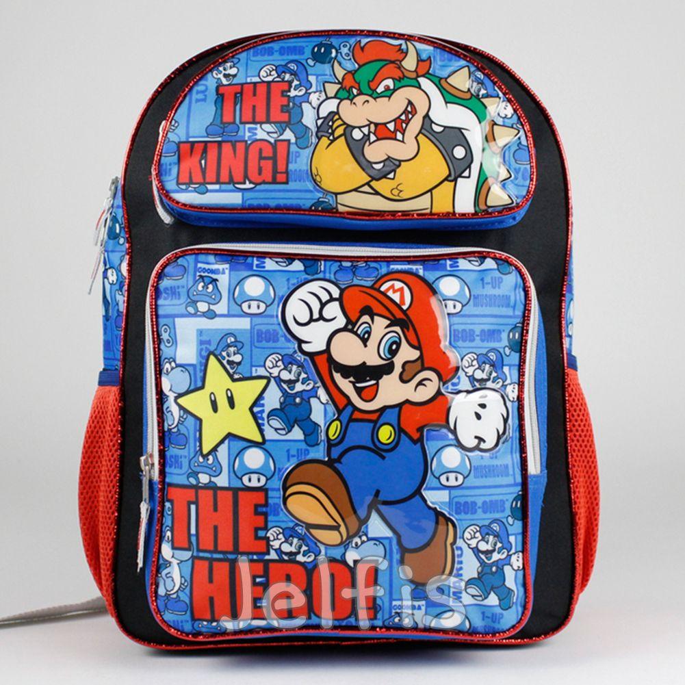 "Super Mario 16/"" Large School Backpack Boy/'s Book Bag"